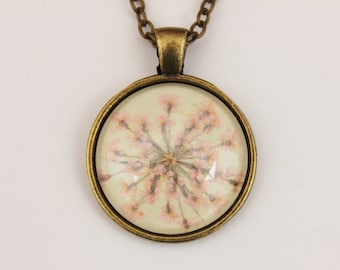 Pink pressed flower necklace