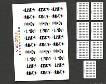 Kindy Stickers - Planner Stickers -Repositionable Matte Vinyl to suit all planners