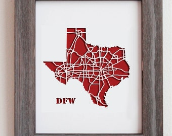 DFW Dallas Fort Worth and Denton Highway Map 11x14""
