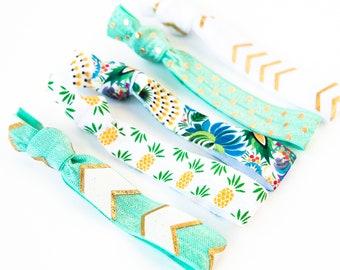 Tropical Pineapple Hair Tie Set | Aqua Mint White + Gold Pineapple Creaseless Elastic Hair Ties, Boho Hair Tie Bracelets, Tropical Vacation