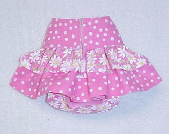 Female Dog Diaper Britches Pet  Panties Wrap Skirt Size XSmall To 5XLarge Pink Daisy  And Dot  Fabric