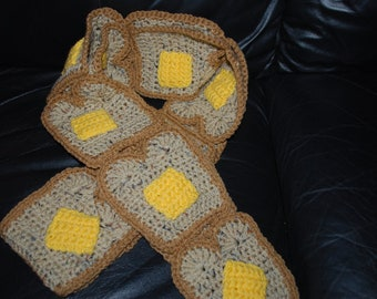 Crocheted Buttered Toast scarf on Multi Grain &  Wheat bread