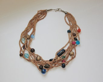 Wooden bead mixed media necklace / boho necklace/ summer