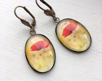 Poppy Flower Resin Pendant Earrings