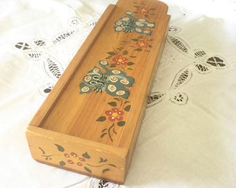 Pencil Box, Wooden Box, Folk Art Pencil Case, Pencil Organizer, Handpainted Flowers & Pets