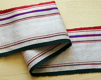 Handmade woven trim and ribbon, handloom ribbon, band, 100cm.
