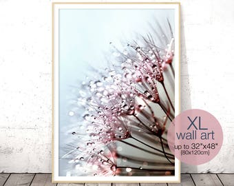 Dandelion Wall Art, Above Bed Decor, Digital Print, Extra Large Poster, Wedding Gift, Printable Art, Girl Nursery Decor, Flower Photography