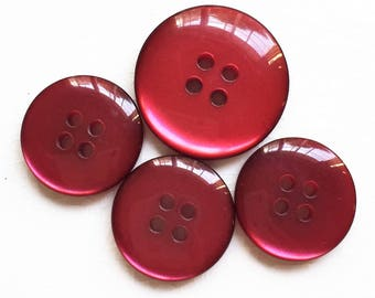 eco friendly high luster moon glow scarlet red buttons--two sizes--lot of 4