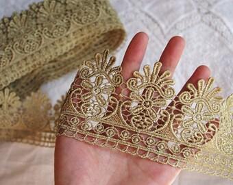 Gold lace trim, metallic gold crochet lace trim