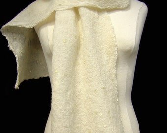 White Felt Stole with Sequins, Nuno Felt Stole