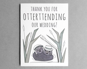Wedding thank you card | Funny wedding card Thank you wedding from the bride and groom Newlyweds Otter Pun card