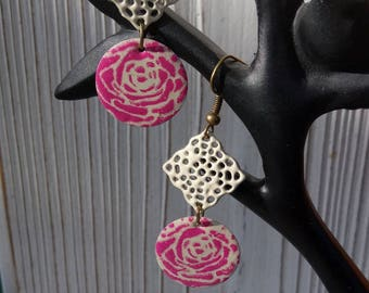 Earrings with pink and ivory floral sequin