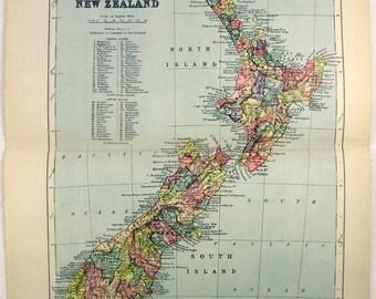 New Zealand - Original 1895 Map by W A. K. Johnston. Antique Original Map