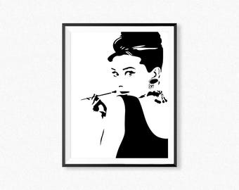 Audrey Hepburn print, Tiffany poster,  Audrey Hepburn silhouette,  Audrey Hepburn wall art, fashion poster, black white silhouette print