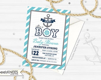 Nautical Baby Shower Invitation Printable Anchor Boy teal and grey