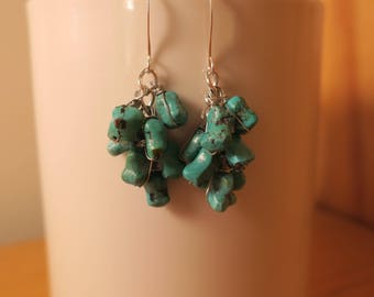 Silver Plated Turquoise Cluster Earrings