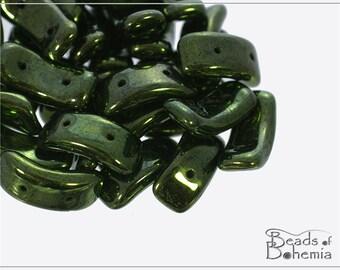 12 pcs Metallic Fern d 2 Hole Czech Bow Beads (11544)