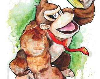 Donkey Kong Watercolour A4