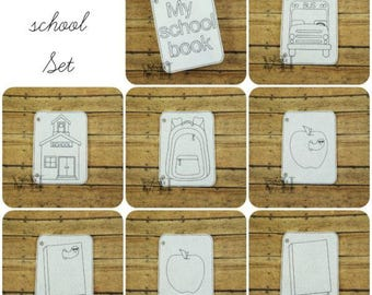 Back to School Coloring Page SET Machine Embroidery Design