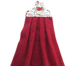 Red Terry Hanging Kitchen Towel - Recipes Hanging Kitchen Towel  - Guacamole Tab Top Hanging Towel - Salsa Fabric Hanging Towel