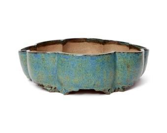 Bonsai Pot | Lotus flower hand shaped stoneware Blue green