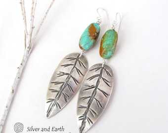 Sterling Silver Feather Earrings, Natural Turquoise Earrings, Handmade Sterling Earrings, Southwestern Turquoise Jewelry, Metalwork Jewelry