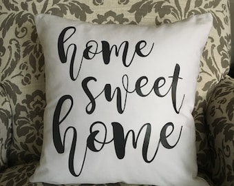 Home Sweet Home Pillow, White Pillow, Custom Pillow, Personalized Pillow