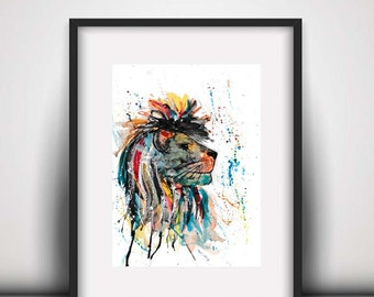 Giclee print, Lion watercolour PRINT, lion art, watercolour painting, watercolour animal print, lion painting, big cat print, African lion