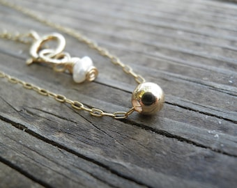 Gold Necklace, Tiny One Gold Ball Necklace, Gold Bead Necklace, Bridesmaid gift, Minimalist Pendant Necklace Delicate Gold Filled Necklace