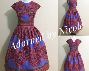 African Print Dress with Pockets: Lilac Dress with Circle Detailing