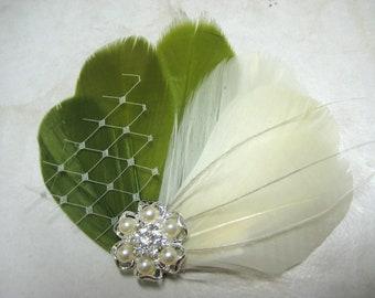 Wedding Bridal Bridesmaid Ivory Olive Green Feather Pearl Rhinestone Jewel Veiling Head Piece Hair Clip Fascinator Accessory