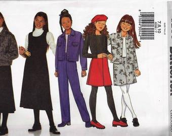 BUTTERICK #6286 FAST & EASY Pattern  Girls School Wardrobe-Jacket,Jumper,Skirt, Pants  Sz 7-10  Uncut Factory Folded