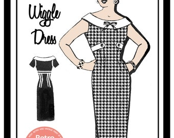 1950s Wiggle Dress Sewing Pattern - Rockabilly - Pin Up -  Paper Sewing Pattern