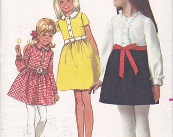 FREE US SHIP Butterick 4972 Sewing Pattern Vintage Retro 1960s 60s Girls High Waist Dress Uncut Size 10 Factory Folded