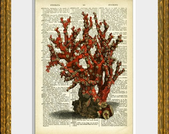 Dictionary Print SEA CORAL 03 art print - antique dictionary page with a sea life illustration - upcycled vintage charm - beach house decor