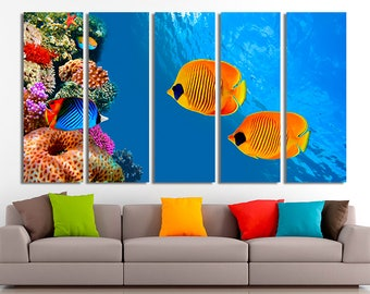 Colored fishes, Fishes art, Fishes canvas, Fishes wall art, Sea canvas, Sea photo, Under water art, Under water photo, Sea wall art, Sea art