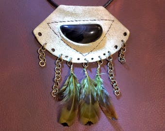 RESERVED FOR ASHLEY** Obsidian and pale green leather and feather statement necklace