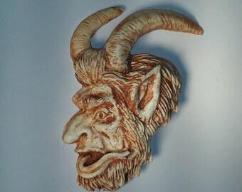 Krampus Ornament, bone finish