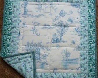 Crooning Froggy Blue/Off White Toile Crib or Wall Hanging Quilt