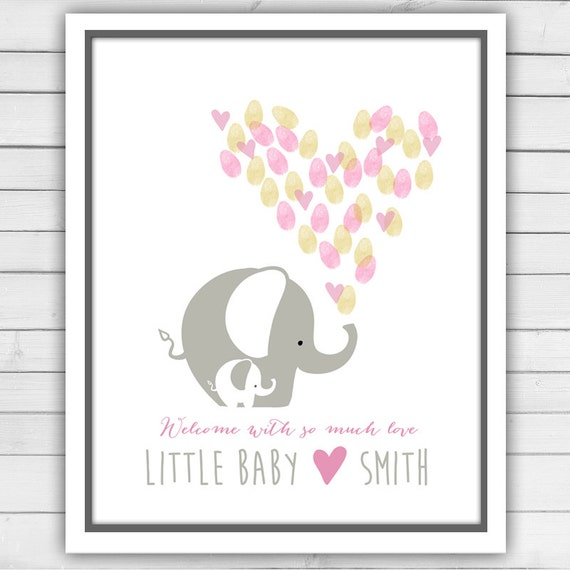 Elephant Baby Shower Guestbook Thumbprint Guestbook Baby