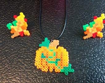 Pumpkin and Leaves Fall Harvest Necklace and Earrings Set