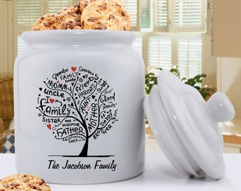 Personalized Family Roots Ceramic Cookie Jar - Personalized Cookie Jar - Family Tree Cookie Jar - Gifts for Mom - Gifts for Her - GC1421