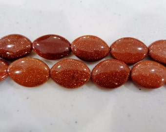 SALE! Goldstone beads 13x18mm oval stone beads