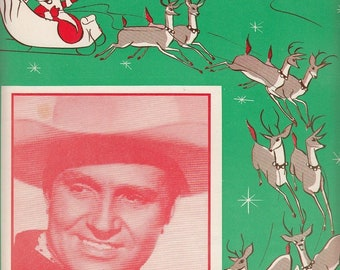 Thirty-Two Feet and Eight Little Tails 1951 Vintage Sheet Music Christmas Santa Claus Reindeer Gene Autry