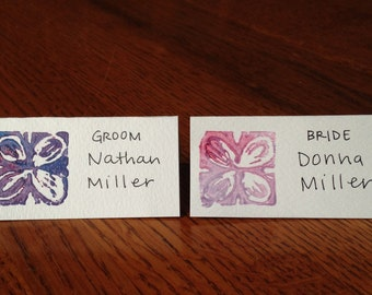 Floral Block-printed Place Cards