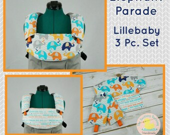 Pre-Order ** Elephant Parade Lillebaby Carrier Headrest Bib w/ Straight Drool Pads, Fully Reversible 3 Pc. Set