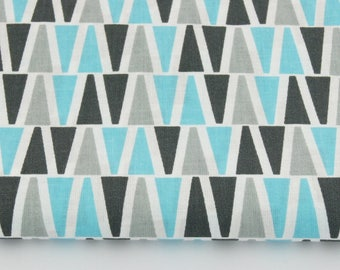 50cm of printed fabric 100% cotton gray and turquoise triangles on white background