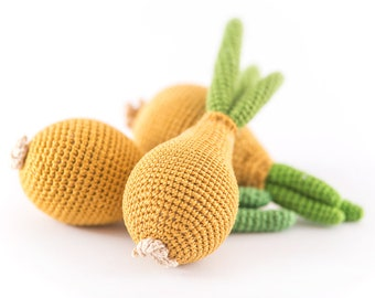1 Pcs - Crochet onions, crocheted vegetables, teether teeth, play food, kitchen decoration,  eco-friendly toys (6m+) - MiniMom's -