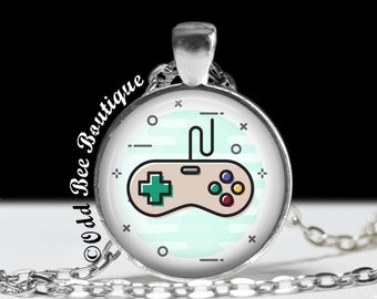 "Video Game Controller Necklace - Super Nintendo Style Pendant - Video Game Jewelry - Gamer Girl Accessory - Geekery Gift - 1"" Silver & Glass"