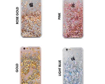 Glitter Bling Sparkle Floating Sequins Latest Design Case Cover For iPhone 5, SE, 6, 6 Plus 7, Samsung S6, S6 Edge, S7, S8